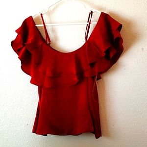 Society Girl Plum Cold Shoulder Ruffled Top Size S